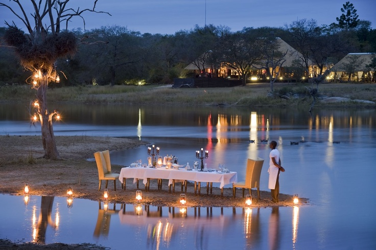 Private Dining at Chitwa Chitwa Private Game Reserve, Sabi Sands, South Africa...how romantic would this be?!  :)