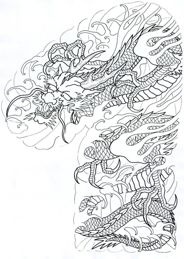 Tattoo Sleeve Flash Template: 26 Best Japanese Dragon Tattoo Stencil Images On Pinterest