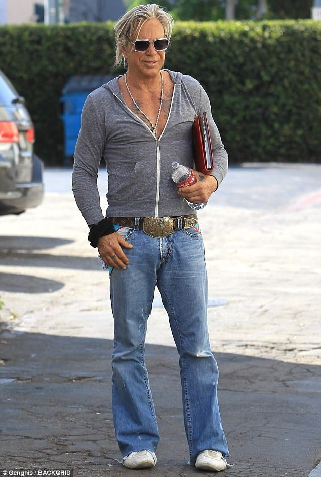 Back to basics instinct: Movie legend Mickey Rourke wore a surprisingly average ensemble as he went to lunch in Beverly Hills on Saturday