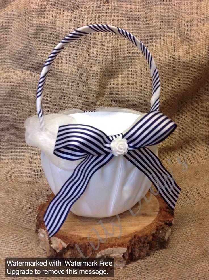 Lilly Dilly's handmade bespoke flowergirls basket  #wedding #flowergirl #bridesmaid #accessories #flowers #petals #satin #ribbon #stripes