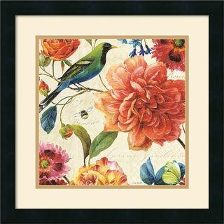 @Overstock - Lisa Audit 'Rainbow Garden II Cream' Framed Art Print - Hang this Lisa Audit colorful framed art print on your wall, and youre sure to draw compliments. The beautiful bird, bumblebee, and flowers evoke springtime, bringing your room to life. Outside dimensions are 11.75 inches x 11.75 inches.    http://www.overstock.com/Home-Garden/Lisa-Audit-Rainbow-Garden-II-Cream-Framed-Art-Print/6834516/product.html?CID=214117  $80.99