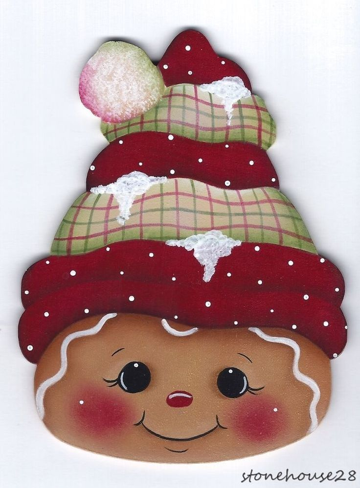 HP GINGERBREAD Face FRIDGE MAGNET #Handpainted