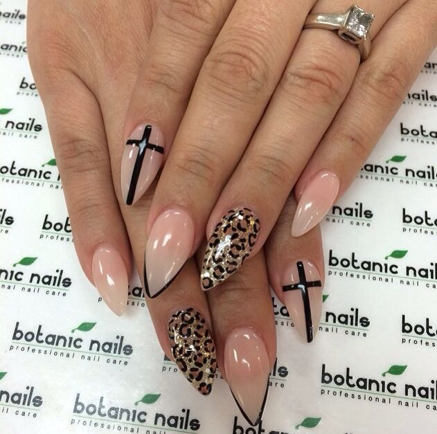 Stiletto nails-cross and leopard nail art - Best 25+ Cross Nail Designs Ideas On Pinterest DIY Nails Black
