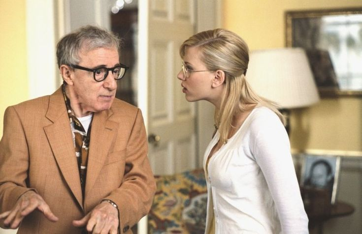 """Sid Waterman (Woody Allen): """"We need to put our heads together."""" // Sondra Pransky (Scarlett Johansson): """"If we put OUR heads together, it would make a hollow sound."""" -- from Scoop (2006) directed by Woody Allen"""