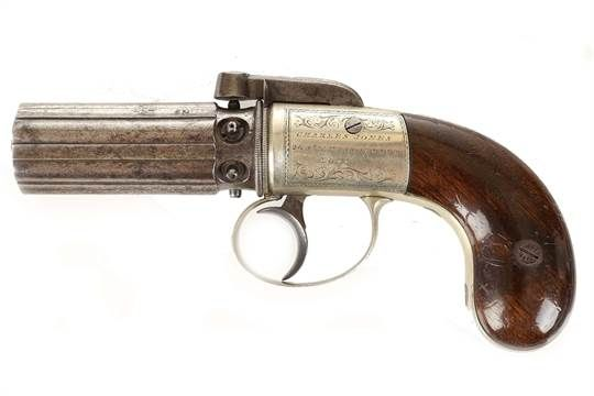 "Charles Jones, fine six barrel percussion pepper box 7"" pistol, 3"" barrel, 7mm, c.1850, percussio"