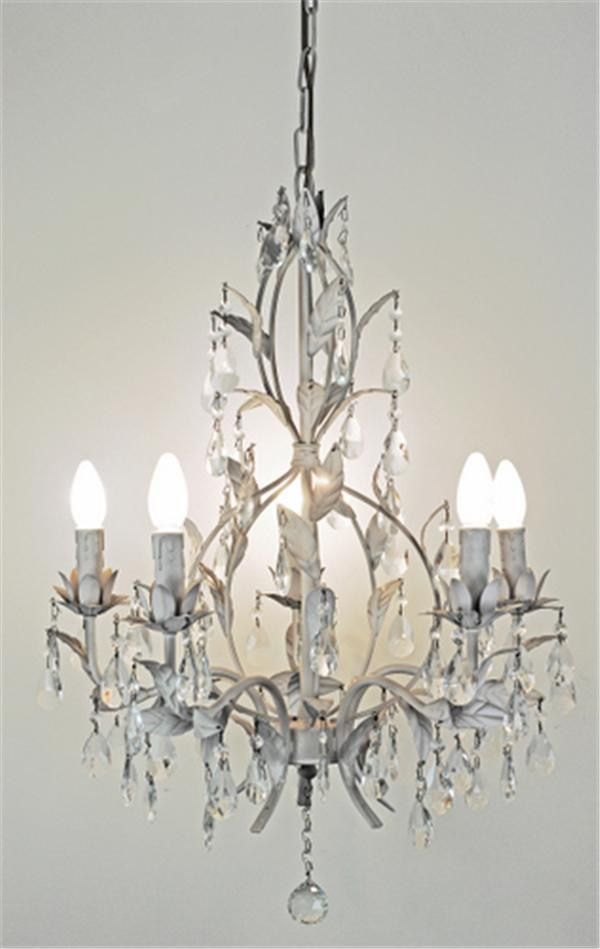 cream metal and glass chandelier