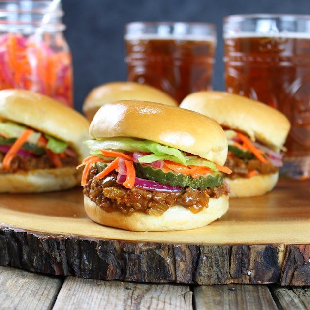 Asian Sloppy Joes with Pickled Carrots and Onions - unctuous, tangy, sweet, and savory!  One big pot of yummy comfort food with a twist.