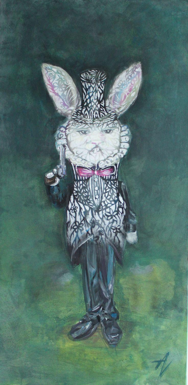Deadly peace - acrylic on canvas - rabbit art - bunny with gun