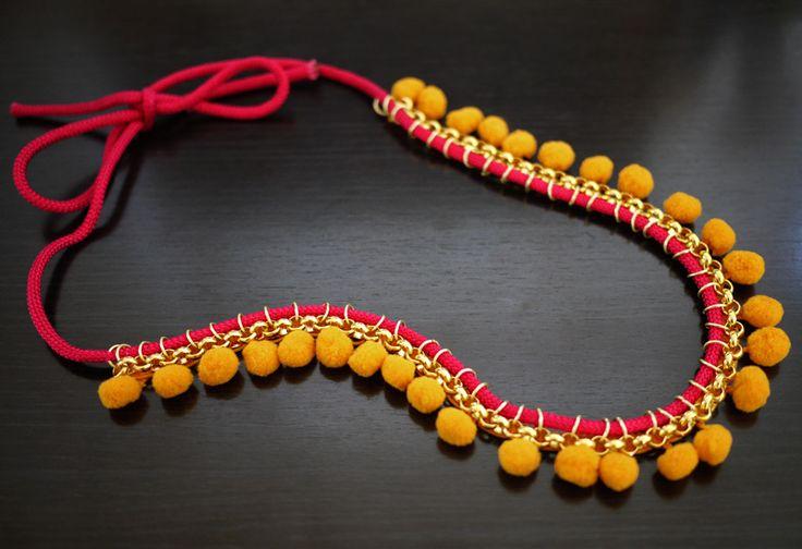 Pom Pom Necklace: Chain + trim + thread. #pom #jewelry #DIY #tutorial #pink #mustard #trim #handmade #boho