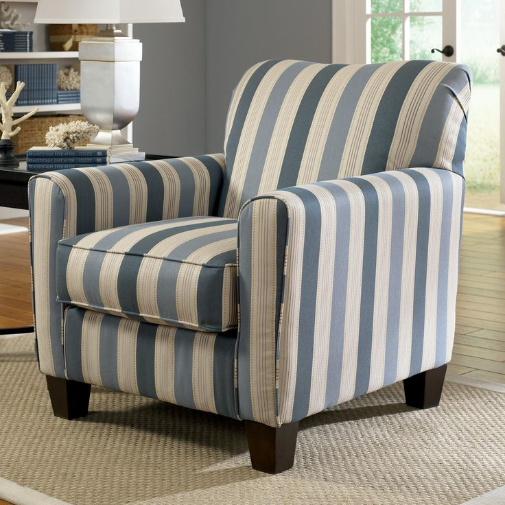 Addison blue stripe accent chair with exposed wood feet for Furniture hermiston or