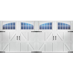 ReliaBilt 16-ft x 7-ft 890 Series White Double Garage Door with Windows Similar to the double garage door from BHG but without the curved top which I love.  This one is $2k+ install