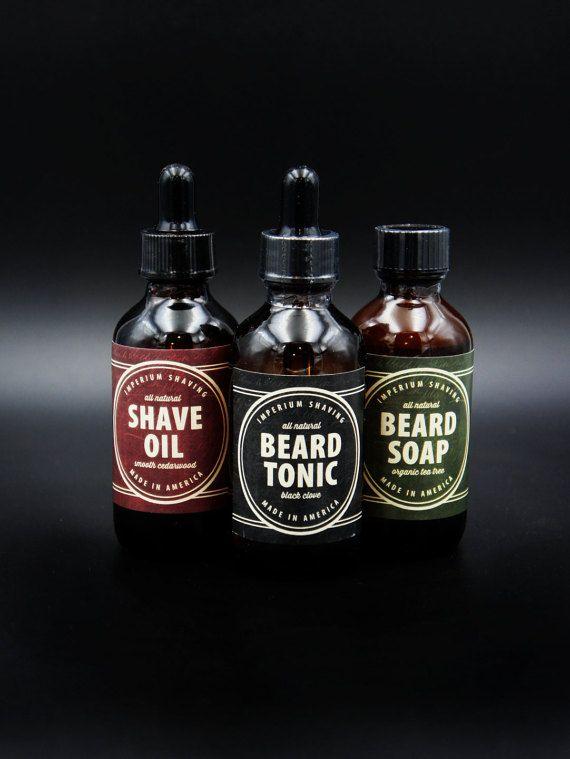 Shaving and Grooming Gift Set Natural Organic Beard Tonic, Beard Soap and Shaving Oil