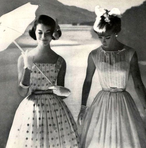 Models in summer dresses for Mademoisellemagazine, March 1959.