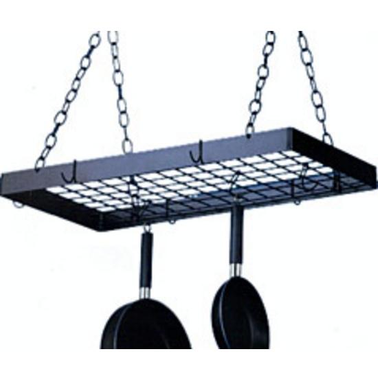Kitchen pot racks ceiling pot racks for Overhead pots and pans rack