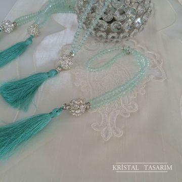 Işıltılı Kristal Tesbih | Mint&Gümüş