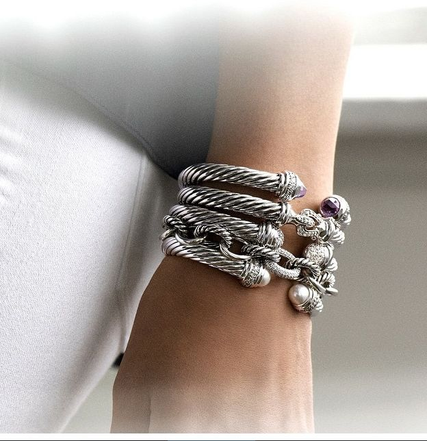 The perfect winter stack by david yurman cable bracelets with gold