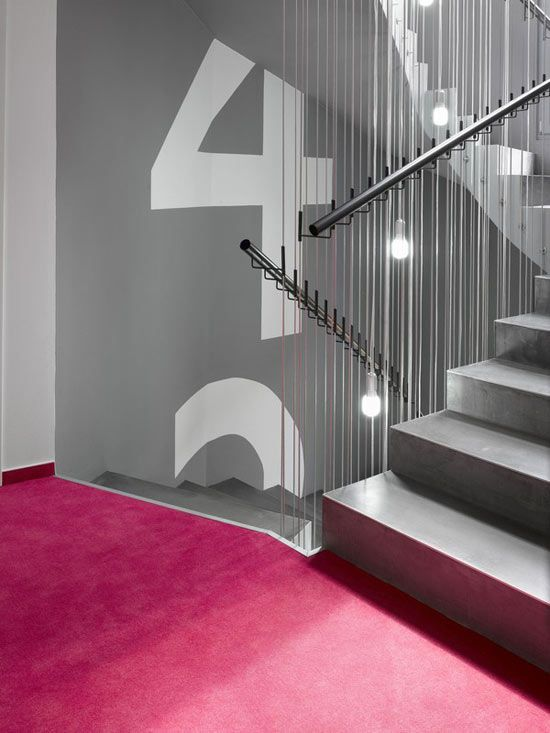 TheDesignerPad - The Designer Pad - Getting In The MoodHotels Design, Boutique Hotels, Stairs, Boutiques Hotels, Mood Boutiques, Interiors, Grey Wall, Signage Design, Design Stores