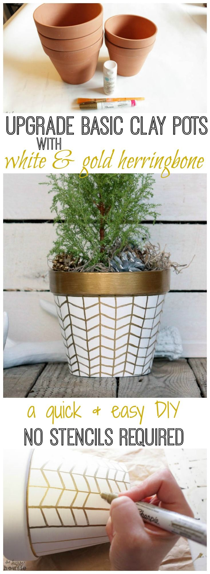 How to upgrade basic clay pots with a beautiful white and gold herringbone design a quick and easy DIY project with no fancy stencils required tutorial at thehappyhousie.com