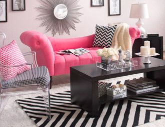 Try adding pops of bright color into your bold black and white decor