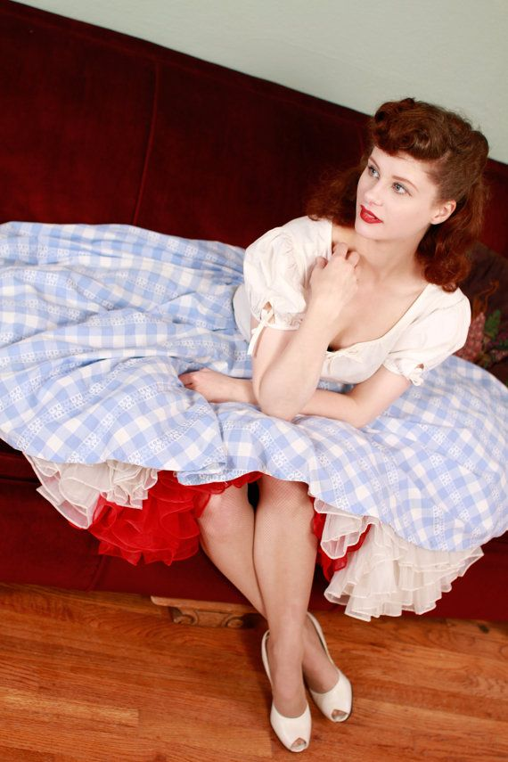 Vintage 1950s Skirt Adorable Blue And White Checkered