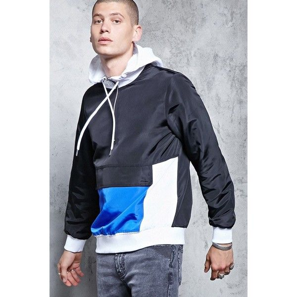 Forever21 Hooded Colorblock Windbreaker ($28) via Polyvore featuring men's fashion, men's clothing, men's activewear, men's activewear jackets and 21 men