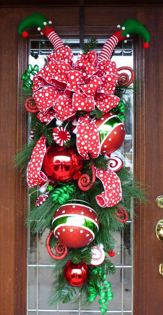 Very WHIMSICAL Christmas Swag with ELF LEGS Ready to by decoglitz