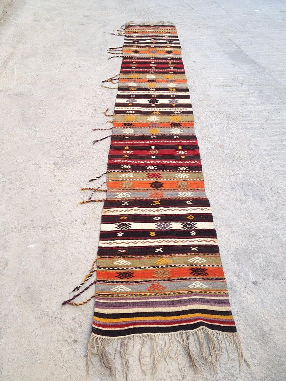 Kilim Runner Rug Turkish Runner Rug Wool Runner Rug