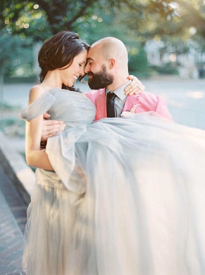 Romantic Bridal Carry Photo   The Happy Bloom   http://heyweddinglady.com/modern-preppy-wedding-shoot-coral-gray/