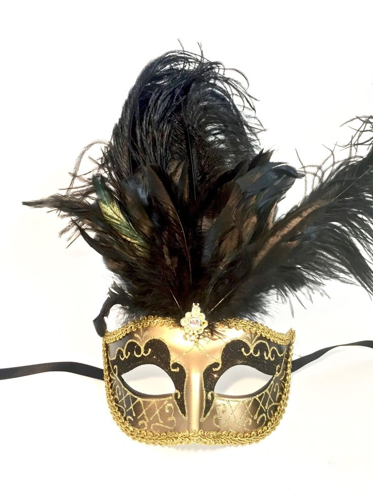 GOLD Tall Feather Masquerade Mask, Carnival Mask, Feather Costume Mask, Eyes Wide Shut Mask, Showgirl Mask, new years mask by Scarlettaa on Etsy