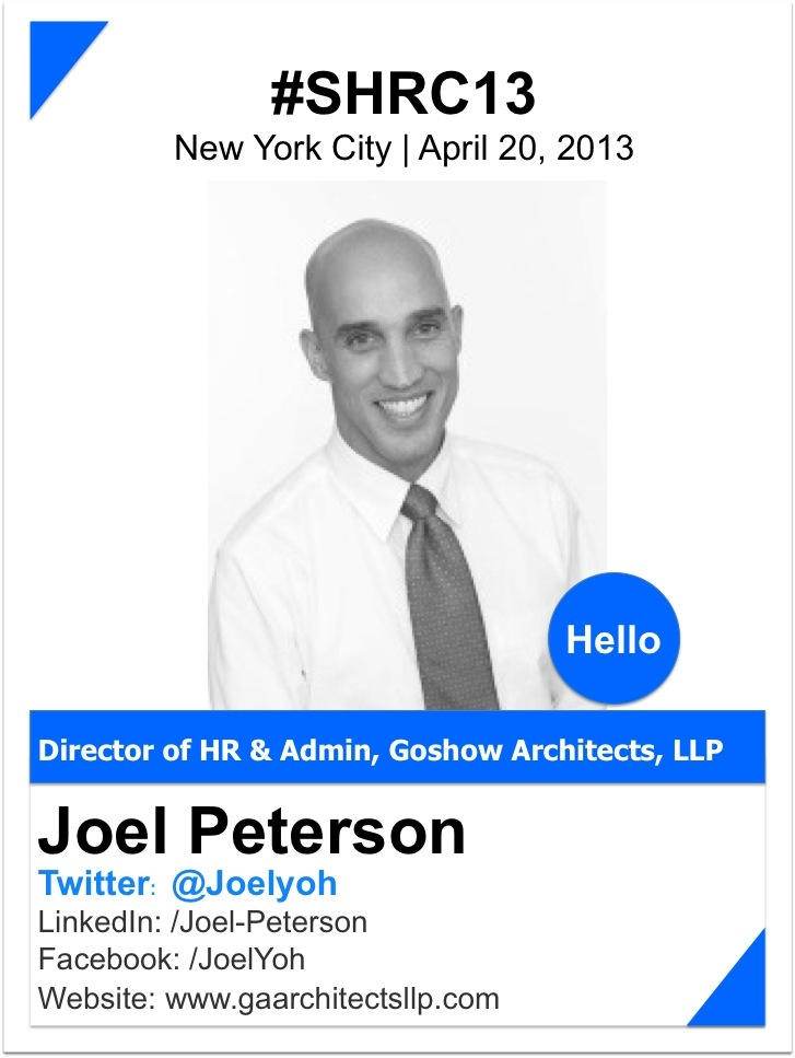 JOEL PETERSON    Joel Peterson is the Director of H.R. and Administration at Goshow Architects, LLP, one of the largest woman-owned architectural firms in New York City.  Goshow Architects specializes in sustainable design solutions for new buildings, as well as the rehabilitation, adaptive reuse, and historic preservation of existing structures. Their extensive portfolio features higher education, K-12 schools, multi-family housing projects, and public sector work…