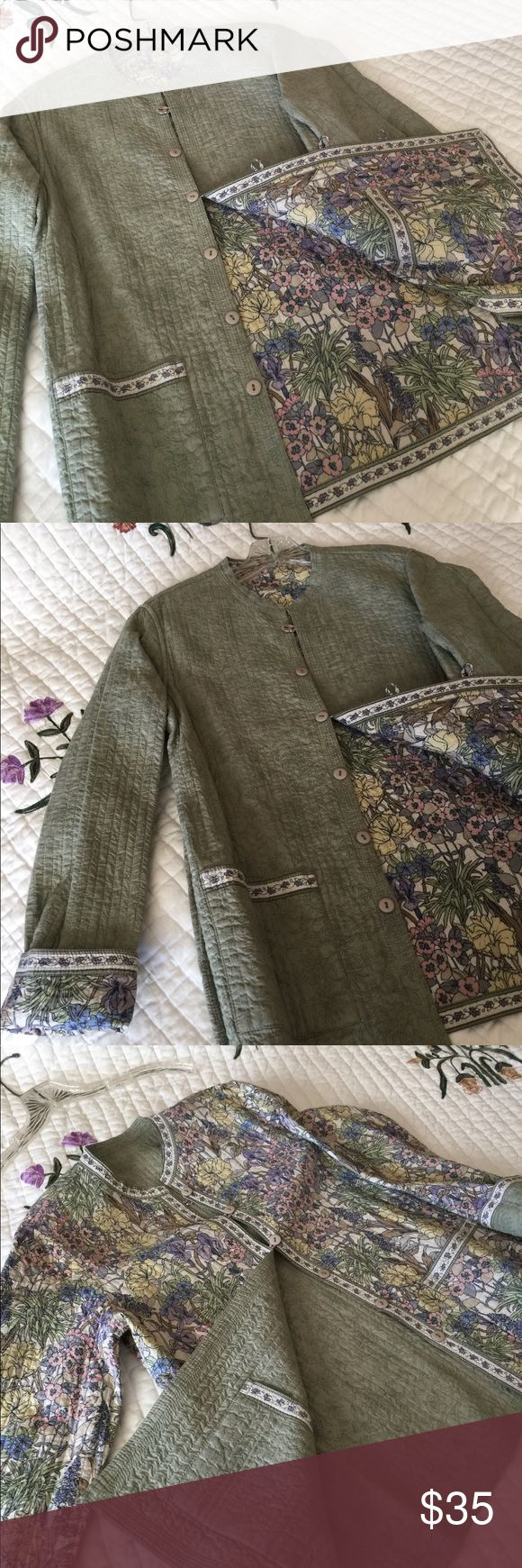New women's Reversible Cotton Thin Jacket Size M Reversible .Fine 100% Cotton..very pleasant pistachio color on one side and color print on the other Two pockets  on each side unbrand Jackets & Coats