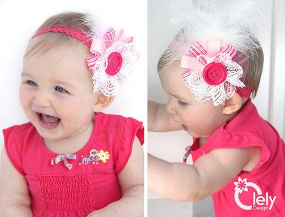 Pink baby headband Newborn headband button headband by OlelyDesign