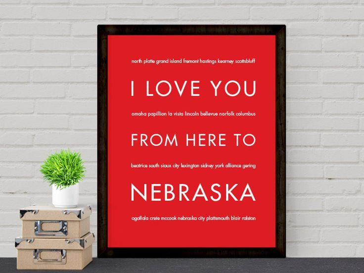 College Dorm Graduation Gift Nebraska State Art Print I Love You From Here To NEBRASKA Shown in Bright Red - Choose Color Canvas Frame (12.00 USD) by HopSkipJumpPaper