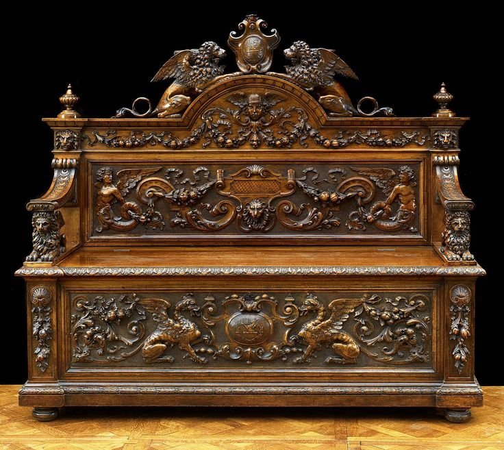 Antique Italian Casapanca Hall seat carved walnut in renaissance style. - 639 Best Italian Antiques Images On Pinterest Antique Furniture