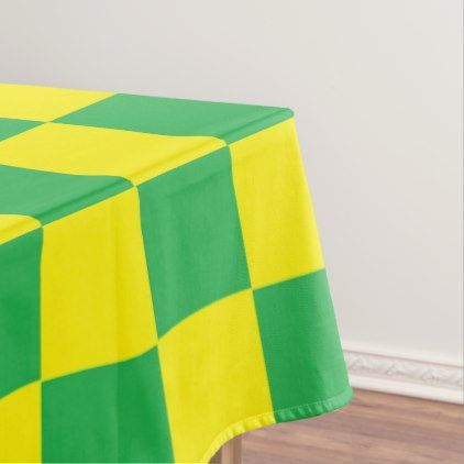Checkered Green and Yellow Tablecloth - home gifts ideas decor special unique custom individual customized individualized