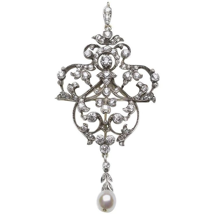 Edwardian Diamond Pearl Brooch Pendant with Hair Comb | From a unique collection of vintage brooches at https://www.1stdibs.com/jewelry/brooches/brooches/