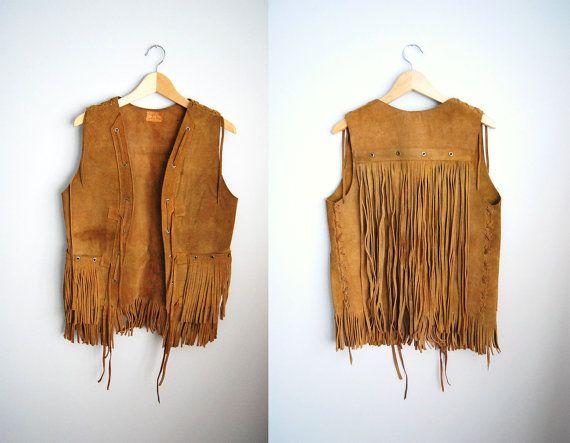 The Hendrix - Vintage Brown Suede Fringe Boho Hippy Vest. $54.00, via Etsy.