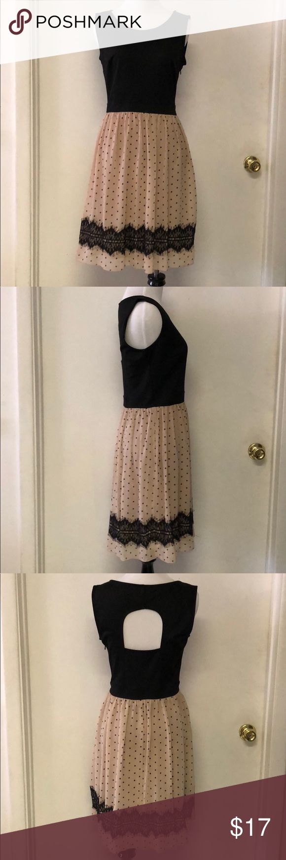 En Focus Studio sleeveless dress size 4 blck/cream Cute sleeveless dress with open back detail. I wore this dress 1 time. Beautiful lace detail, great for parties and going out. Excellent condition! Size 4 En Focus Studio Dresses