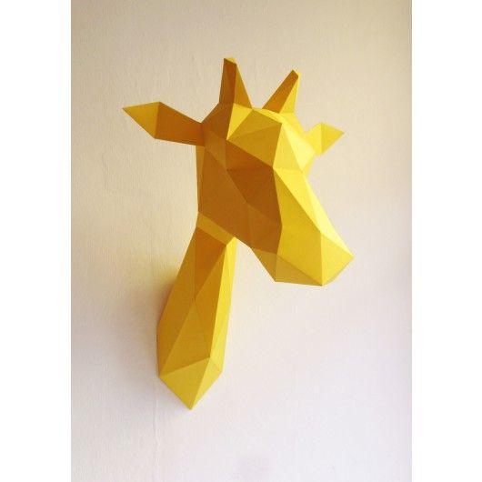 Trophée origami en papier Girafe - Jaune