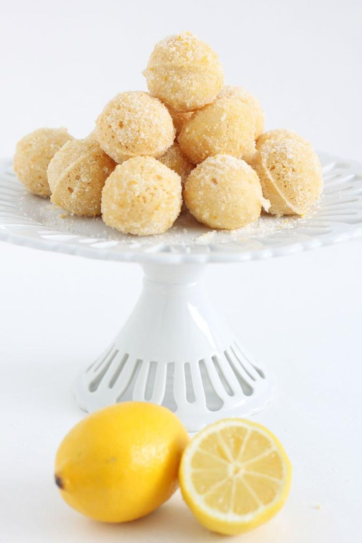 Lemon Baked Donut Holes made with Greek Yogurt.