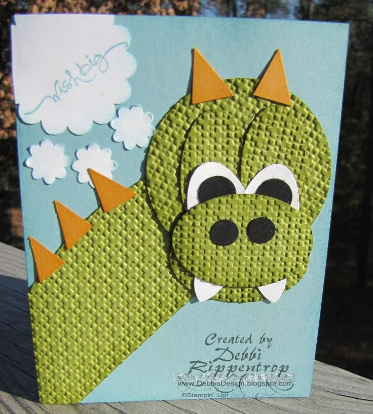 Cute Dragon punch craft: Cards Ideas, Cards 391, Crafts Cards, Cards Punch, Cards Baby Kids, Punch Art, Dragon Punch, Awesome Dragon, Get Well Cards
