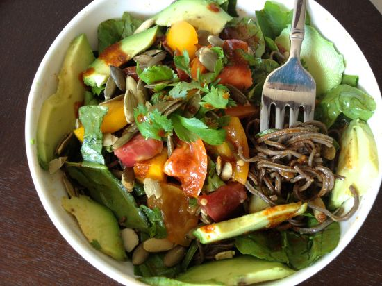 Black Bean Pasta topped with an Heirloom Tomato Salsa and a Chili Lime ...