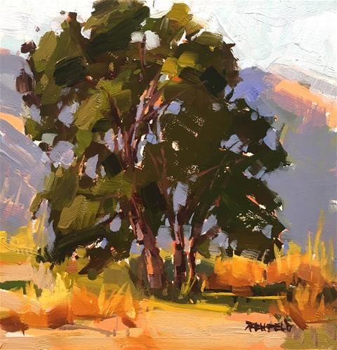 "Daily Paintworks - ""Plein Air Oak Tree"" - Original Fine Art for Sale - © Cathleen Rehfeld"