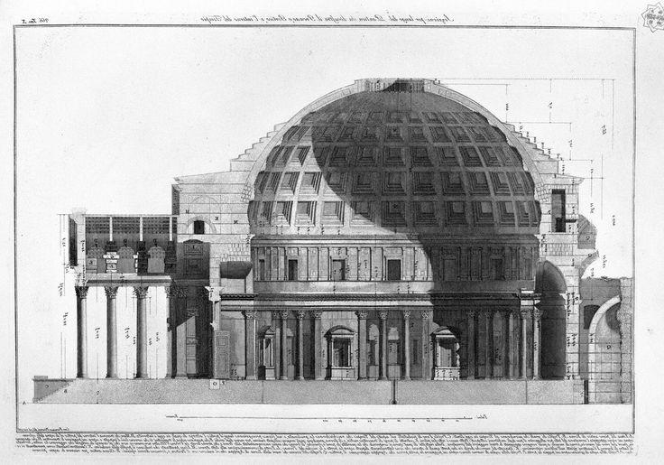 Seccion transversal 'Panteon' Italia Siglo XVIII. Arquitecto Francesco Piranesi.