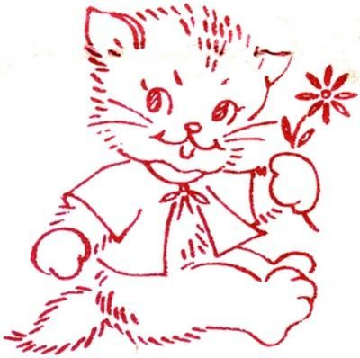 redwork kitty pattern / embroidery