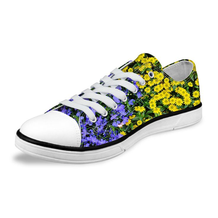 Floral Womens Ladies Lace Up Low Top Canvas Sneakers Pumps Shoes Casual Trainers | eBay