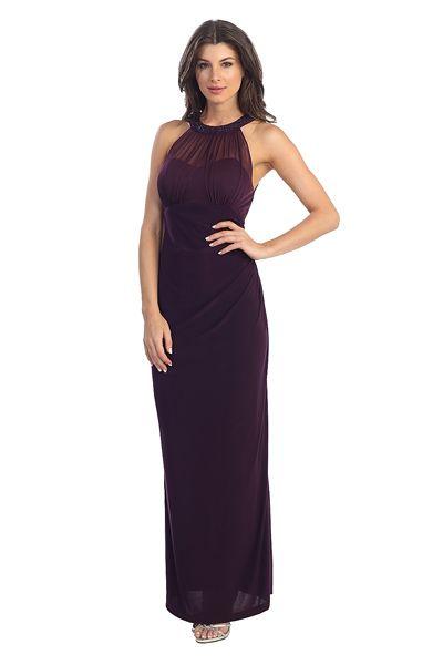 Long Evening Dress JO970. Sheath Shape Evening Dress has Halter Neck with Sequin Beading, Illusion Back with Zipper Closure. https://www.smcfashion.com/wholesale-evening-dresses/evening-dress-jo970