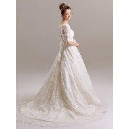ウェディングドレス A ライン バトーネック レース ボタン ハーフスリーブ シャンパン スウィープ 結婚式 二次会ドレス 花嫁 Hlb0074