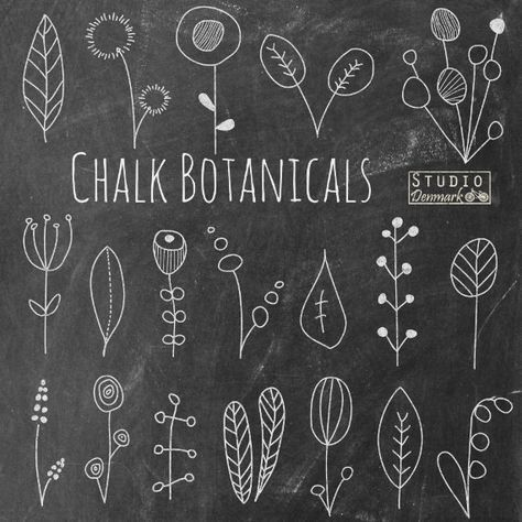 "Chalkboard Flower Doodles Clipart – ""Chalk Botanicals"" Hand Drawn Floral Chalk Flowers and Leaves – Commercial Use Instant Download"
