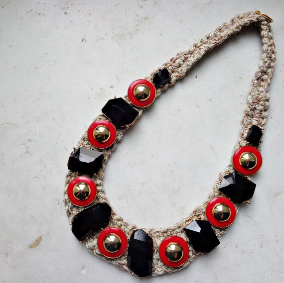 Necklace with vintage buttons, crochet necklace
